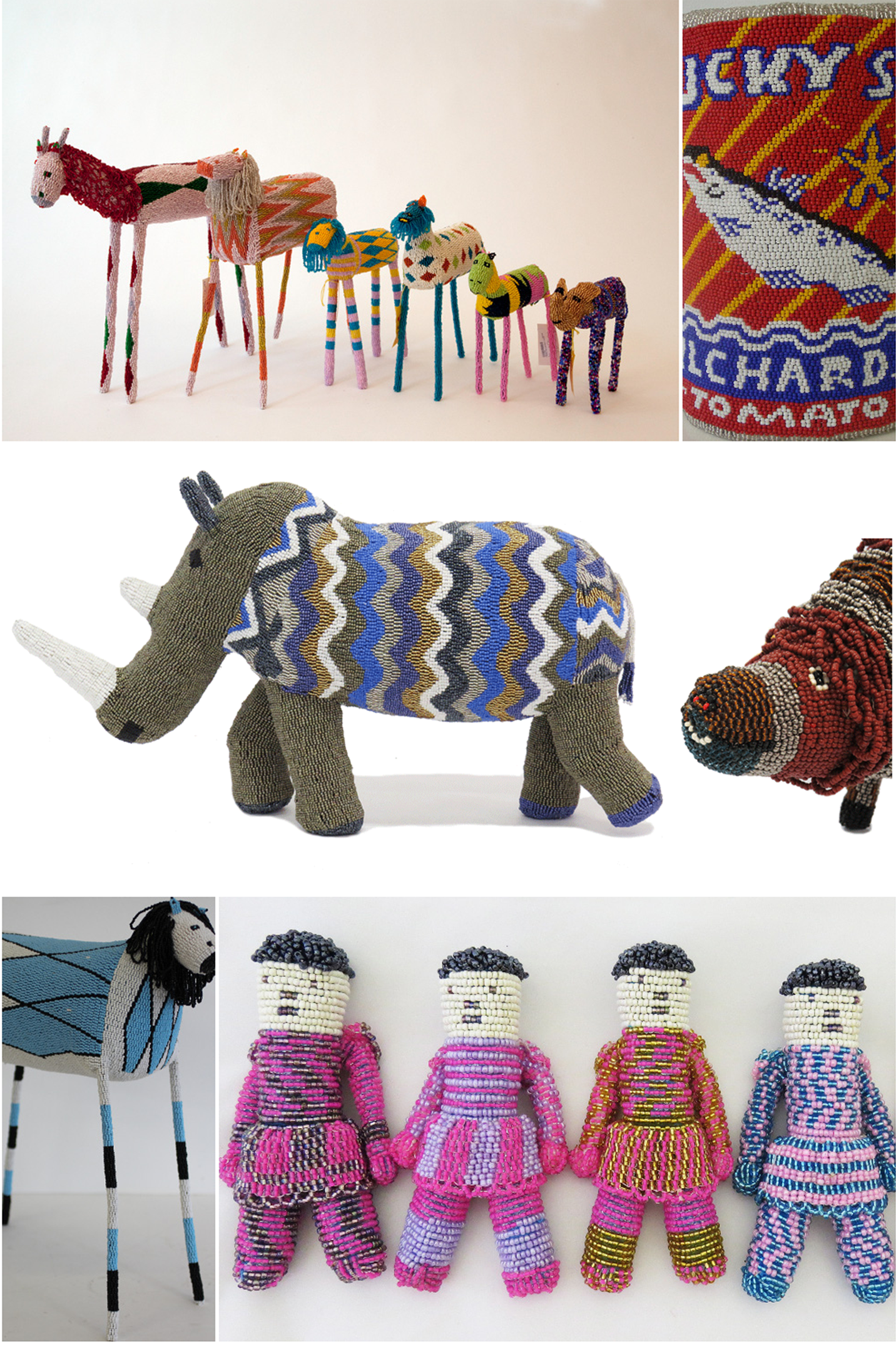 Various beaded creations from animals to dolls and food packaging
